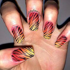 Orange and Yellow Gradient Zebra Nails