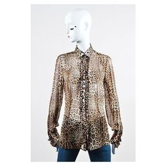 Pre-Owned Dolce & Gabbana Brown Silk Sheer Leopard Print Ruffled... ($105) ❤ liked on Polyvore featuring tops, blouses, brown, brown blouse, leopard print silk blouse, brown silk blouse, loose blouse and leopard blouse