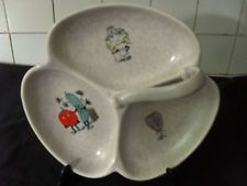 Crown Devon GAIETY GRILL trefoil H'ors D'oevres dish + handle