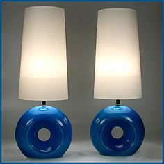 A terrific pair of vintage 1960's pottery lamps in a superb crackle blue glaze. Image © Eclectisaurus. Visit our shop at 249 Gerrard St E, Toronto. 416-934-9009 www.eclectisaurus.com