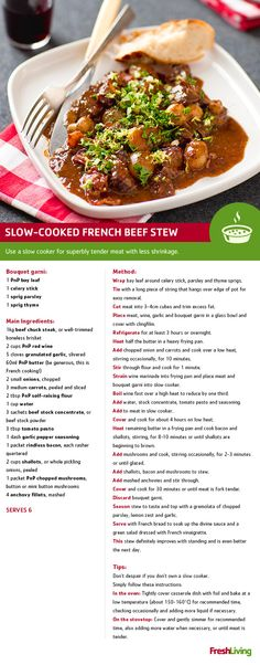 """How fast can you say """"cloud The oh-so-tender beef in this stew will get you there in an instant! Meal Recipes, Delicious Recipes, Crockpot Recipes, Yummy Food, South African Recipes, French Food, Cloud 9, Gumbo, Main Meals"""