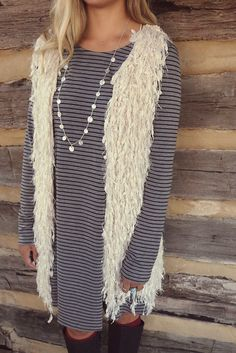 beige fur vests are our favorite this season!