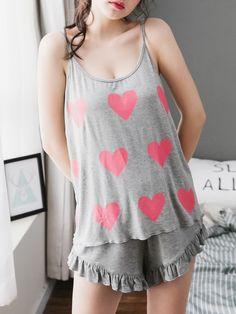 Heart Print Marled Cami Top & Frill Shorts Pj Set