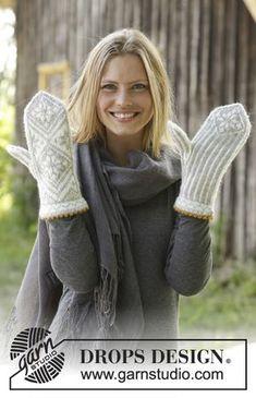 Knitted Mittens Pattern, Fair Isle Knitting Patterns, Knitting Charts, Knit Mittens, Knitted Gloves, Free Knitting, Crochet Patterns, The Mitten, Drops Design