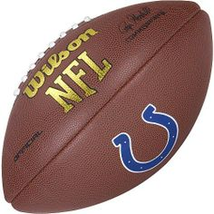 Indianapolis Colts Logo Official Football by Wilson. $17.14. You can show your passion for pigskin by displaying this Wilson® NFL® team Football on your mantle in the office or bookshelf in the rec room. The high grade composite NFL® replica game ball is signed by commissioner Roger Goodell and features a large team logo.. Save 31% Off!