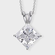 3.5 Ct. Princess Cut  14K Classic Pendant. Classic cubic zirconia pendant features a 3.5 carat princess cut prong set in 14k white gold. An Italian cable chain is included, with your choice of 16 inch or 18 inch length. This high quality cubic zirconia pendant is also available in 14k yellow gold via special order. Cubic zirconia weights refer to equivalent diamond carat size.