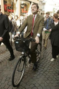 Mr Bean - Rowan Atkinson on a bike