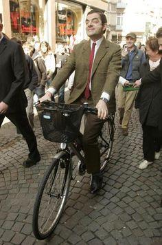 Mr Bean - Rowan Atkinson on a bike