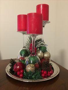 Christmas Candle Decorations, Christmas Lanterns, Holiday Decor, Silver Christmas, Vintage Christmas, Christmas Crafts, Wine Glass Crafts, Hand Painted Mugs, Decorating