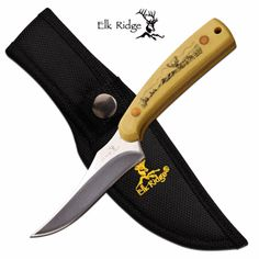 """Elk Ridge """"Deer Hunter"""" FIXED BLADE KNIFE Features: - FIXED BLADES - 7"""" OVERALL - 3.25"""" 3MM BLADE, STAINLESS STEEL - MIRROR FINISH PLAIN CLIP POINT BLADE - 3.75"""" POLISHED BROWN HANDLE WITH DEER PICTUR"""