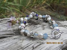 Glass faceted Moonstone and Fresh Waterr pearl bracelet by bling33, $30.00