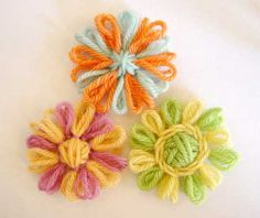 Written directions on post---Loomed flowers with two color petals