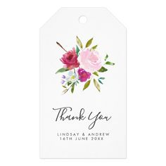 Script Bold Pink Floral Wedding Thank You Favor Gift Tags Custom Theme Craft Supplies perfect gifts and wedding decor Wedding Gift Tags, Wedding Pins, Wedding Thank You, Wedding Cards, Wedding Favors, Wedding Decor, Wedding Ideas, Pink Color Schemes, Floral Wedding Cakes