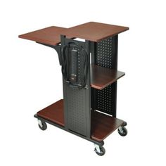 AmpliVox SN3325 Presentation Stand. Product Name: SN3325 - Presentation Station| Marketing Information: Presentation Station in a Black Cherry| Marketing Information: Presentation stand holds all your audiovisual equipment - notebook computers, LCD projectors, document cameras, visualizers and more. This mobile computer cart boasts 4 convenient worksurfaces. The larger shelves will hold most bestselling document camera| Product Type: Presentation Stand| Number of Casters: 4| Caster Type:...