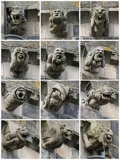 Some of these dont look like they were made in Gothic period, im looking at you alien gargoyle, why do you look just like the movie version. anyways, these are also to get rid of water and protect the building. Gargoyles at Paisley Abbey in Scotland Gothic Gargoyles, Be The Creature, Architectural Sculpture, Louise Bourgeois, Renaissance, Gremlins, 12th Century, Green Man, Ancient Artifacts