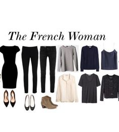 I didn't realize I was the French woman. My black dress looks almost the same except it's more loose fitted and has 3/4 sleeves. And again no vertical striped shirts. Oh I also mostly only wear black, grey, blue and leapord. Occasionally some dark maroons and pink. #anaasrastyle Mode Simple, French Women Fashion, Minimalist Fashion French, French Minimalist Wardrobe, Minimal Wardrobe, Womens Fashion, French Wardrobe Basics, Classic Wardrobe, French Capsule Wardrobe