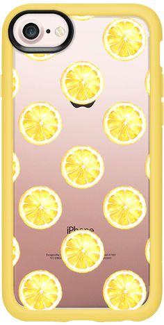 Casetify iPhone 7 Classic Grip Case - Fresn Lemon Slices Pattern Lemonade Summer Fashion Yellow Design Tropical Fruits Exotic Fruits by Karamfila Siderova
