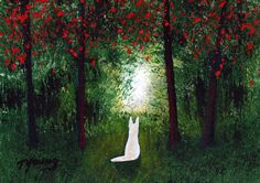 White German Shepherd Dog Outsider Folk Art PRINT of Todd Young Forest Light http://www.etsy.com/listing/174362167/white-german-shepherd-dog-outsider-folk?ref=shop_home_active_9&ga_search_query=white%2Bgerman