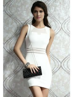 Sexy Night Club Bodycon Mini Dress with Mesh Insert White Medium - Ideas of Night Club Dresses Sheer Mini Dress, White Mini Dress, Tube Dress, Hot Dress, Club Cocktail Dresses, White Cocktail Dress, Club Party Dresses, Low Cut Dresses, Short Sleeve Dresses