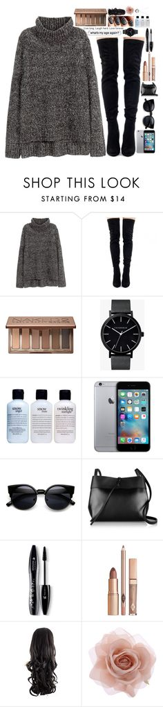 """Don't wanna talk..."" by love-chelss ❤ liked on Polyvore featuring H&M, Urban Decay, The Horse, philosophy, Kara, Lancôme, Accessorize, Pandora and Chelseatakeover"
