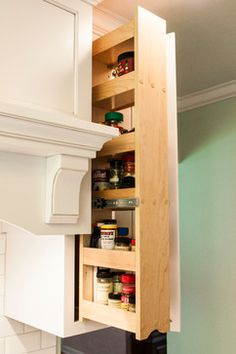 Pull out spice cabinet. No more knocking things over to dig for what you want at the back of the cabinet!