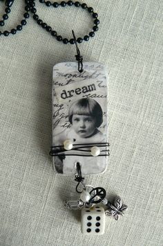 """This is cool, Lori Vintage Girl """"Dream"""" Altered Domino Necklace. via Etsy. I love the wire wrapped around the mid section and the charm finding Domino Jewelry, Mixed Media Jewelry, Resin Jewelry, Jewelry Crafts, Jewelry Art, Jewelry Design, Jewlery, Domino Crafts, Domino Art"""