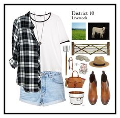 """""""District 10: Livestock"""" by mandiemoo ❤ liked on Polyvore featuring Topshop, MANGO, Rails, Ballard Designs, Burberry, Antique Revival and Artland"""