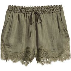 H&M Satin shorts (40 CAD) ❤ liked on Polyvore featuring shorts, bottoms, pants, khaki green, short shorts, short khaki shorts, green shorts, h&m and lace trim shorts