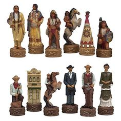 The Old West Alabaster Chess Pieces - The American West is an interesting set with a lot of history behind it. Chess Pieces, Game Pieces, Realistic Games, Chess Set Unique, Indian Horses, Art Through The Ages, Old West, Wood Art, Old Things