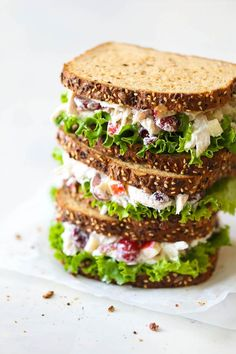 Greek Yogurt Chicken Salad Sandwich - From the plump grapes to the sweet cranberries, this lightened up sandwich won't even taste…