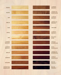 Wood color charts. I really like Black Walnut for my hallway and dining room with Honduras Mahogany for all the external wood work and the outdoor deck