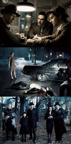 1/5 Killers Kill, Dead Men Die by Annie Leibovitz: The gumshoes with Bruce Willis, Ben Affleck, Tobey Maguire / The crime scene with Bruce Willis, Kirsten Dunst / Last rites with Penélope Cruz and Ben Affleck