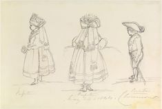 Pencil drawing by Queen Victoria of Princess Victoria, Princess Royal and Prince Albert Edward, Prince of Wales dressed as Gotha peasants May 24, 1844