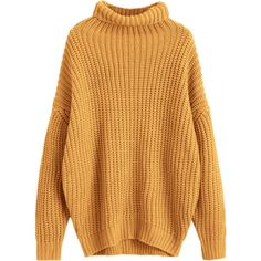 Turtleneck Longline Chunky Sweater Ginger (168090 PYG) ❤ liked on Polyvore featuring tops, sweaters, brown turtleneck, brown top, chunky sweater, turtle neck sweater and brown turtleneck sweater