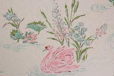 1960's Vintage Wallpaper Pink Swans Aqua Water by RosiesWallpaper