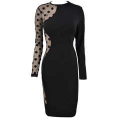 'Stella' Black Polka Dot Mesh Bodycon Dress ($125) ❤ liked on Polyvore featuring dresses, body con dress, long sleeve mesh dress, sexy long sleeve dresses, polka dot bodycon dress and long sleeve bodycon dress