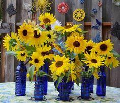 Marie's cobalt garden crafts Sunflower Wedding Decorations, Sunflower Centerpieces, Sunflower Party, Sunflower Arrangements, Floral Arrangements, Wedding Flowers, Yellow Centerpieces, Fall Wedding, Diy Wedding