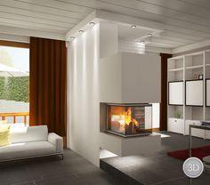 BRUNNER Panoramakamin 66-er   Kamine – Kachelöfen – 3D Visualisation aus Meisterhand