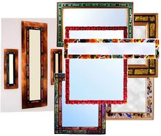 Adagio fused glass tiles decorate a wide variety of mirrors, some with richly lacquered wooden frames, some frameless, and some mounted on burnished, patinaed copper.