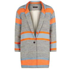 Jaeger Jaeger Block Striped Blazer ($195) ❤ liked on Polyvore featuring outerwear, jackets, blazers, stripe jacket, colorblock blazer, blazer jacket, stripe blazer and tailored blazer