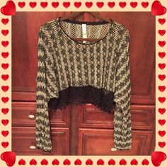 Free People New Romantics Crop Top Free People New Romantics crochet style cropped top with bordering lace at the bottom , elastic sleeves which I wore pushed up , just my preference , I wore this one time and it's in nice condition size is M No Trades !! Free People Tops Crop Tops