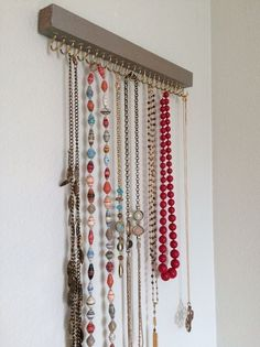 Jewelry Organizer diy jewelry holder, crafts, how to, organizing, repurposing upcycling - A necklace holder was needed to keep jewelry out of the hands of little ones while also providing a decor element to the bedroom. This super easy DIY cost less… Necklace Hanger, Necklace Storage, Jewellery Storage, Jewellery Display, Jewellery Shops, Diy Jewellery, Diy Necklace Box, Diy Necklace Display, Jewellery Stand