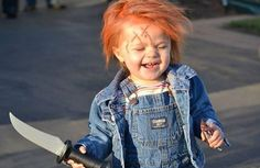 Chucky Doll - Halloween Costume Contest via Baby Halloween Costumes For Boys, Baby First Halloween, Halloween Costume Contest, Halloween Kids, Halloween 2014, Halloween Party, Chucky Doll Costume, Diy Doll Costume, Costume Ideas