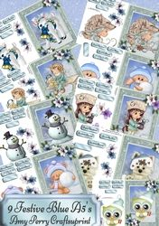 9 A5s Festive Blue Designs on Craftsuprint - View Now!