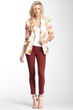 Burgundy Pants with a White Tank and Floral Blazer