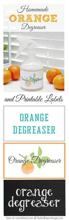 Homemade Orange Degreaser Spray Recipe - great for cleaning those touch burnt on messes in your kitchen or on your grill - free printable labels included!