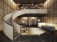 Giorgio Armani x César Pelli's aesthetic in Armani/Casa Miami, Florida. The Residences by Armani/Casa to bring a new level of taste Armani Hotel, Lobby Interior, Interior Stairs, Interior Architecture, Accor Hotel, Grand Hall, Casa Hotel, Hotel Interiors, Staircase Design