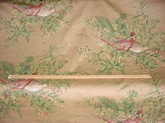 3-7/8 Yards Exquisite Thibaut F95625 Sussex in Brown - Pheasant Woodland Floral Luxury Printed Cotton Upholstery Fabric - Free Shipping