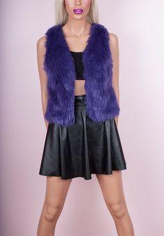 Purple Faux Fur Vest