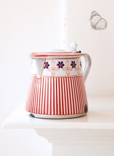 Vintage French Enamel Milk - Hot Water Jug - Art Deco 1920s - BB Frères Red - Free Shipping within the USA by ScrumptiousVenus on Etsy https://www.etsy.com/listing/291650991/vintage-french-enamel-milk-hot-water-jug